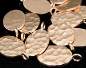 KZ-143 thai karen hill tribe handmade silver 2 rose gold vermeil hammered oval disc charm