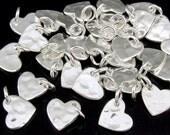 3KH-108 thai karen hill tribe handmade silver 8 small hammered heart charm