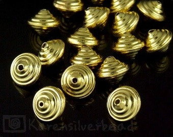 KG-030 thai karen hill tribe silver 7 gold vermeil large bicone wrap bead