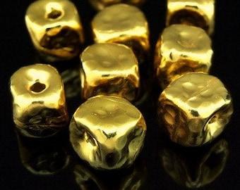 KG-153 thai karen hill tribe silver 2 gold vermeil hammered cube bead