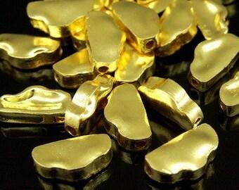 KG-165 thai karen hill tribe silver 5 gold vermeil nugget shape bead