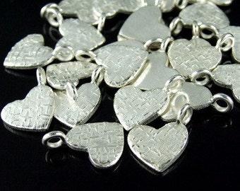 3KH-036 thai karen hill tribe handemade silver white 6 texture heart shape charm