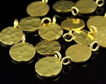 KG-223 thai karen hill tribe silver 2 gold vermeil hammered disc charm (hammered single side)
