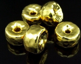 KG-334 thai karen hill tribe silver 2 gold vermeil hammered wheel shape bead