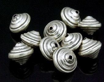 KH-005 thai karen hill tribe silver 4 wrap bicone bead