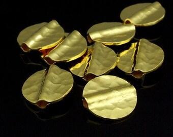KG-398 thai karen hill tribe silver 4 gold vermeil hammered round disc bead