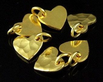 KG-116 thai karen hill tribe silver 4 gold vermeil hammered diecut heart charm