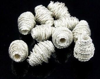 KS-037 thai karen hill tribe handemade silver white 3 twist wire wrap bicone bead