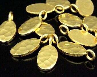 KG-383 thai karen hill tribe silver 6 gold vermeil hammered oval disc charm