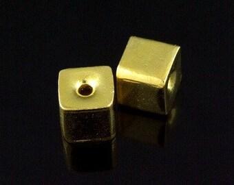 KG-107 thai karen hill tribes silver 2 gold vermeil plian cube bead