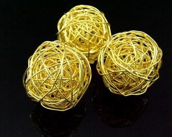 KG-206 thai karen hill tribe silver 1 gold vermeil wire ball bead
