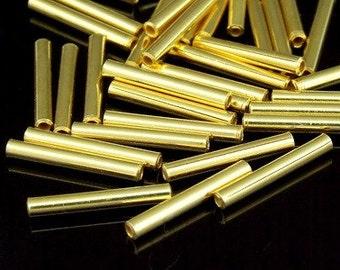 KG-297 thai karen hill tribes silver 20 gold vermeil straight tube bead