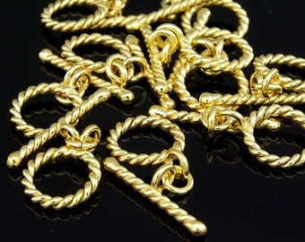 KG-351 thai karen hill tribes silver 3 gold vermeil twist wire round toggle