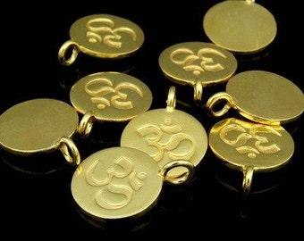 KG-429 thai karen hill tribes silver 3 gold vermeil om symbol disc charm
