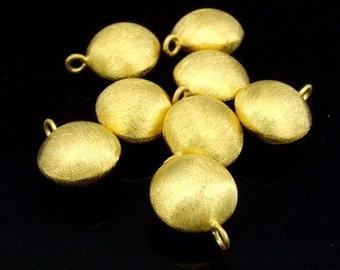 KG-454 thai karen hill tribes silver 3 gold vermeil brush puffed round charm