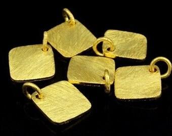 KG-472  thai karen hill tribes silver 3 gold vermeil brush square disc charm