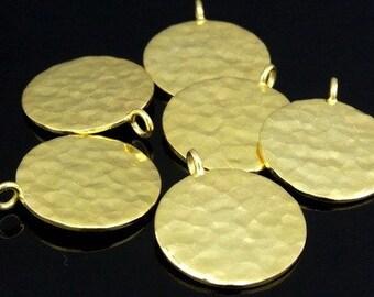 KG-353 thai karen hill tribe silver 1 gold vermeil hammered round disc charm (both side hammered)