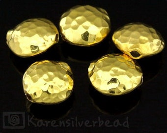KG-017 thai karen hill tribe silver 3 gold vermeil hammered puffed bead
