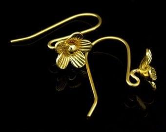 KG-487 thai karen hill tribes handmade 24K gold vermeil over silver pair wild flower earring