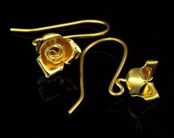 KG-488 thai karen hill tribes handmade 24K gold vermeil over silver pair wild flower earring