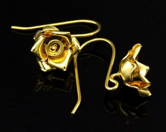 KG-494 thai karen hill tribes handmade 24K gold vermeil over silver pair wild flower earring