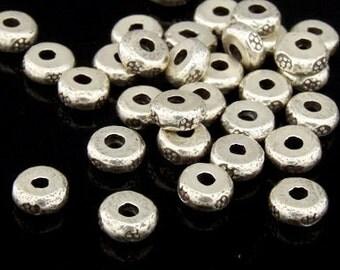 KK-040 thai karen hill tribes silver 20 rondel flower print bead