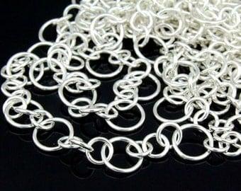 KL-017 thai karen hill tribe silver plain round link chain 24 inch