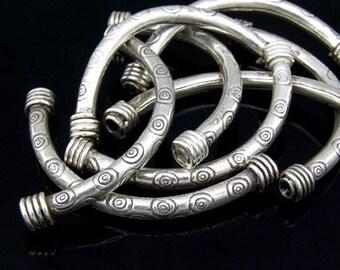 KS-031 thai karen hill tribe silver 2 ring print curved tube bead