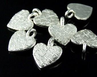 3KH-035 thai klaren hill tribe silver 5 texture diecut heart shaped charm