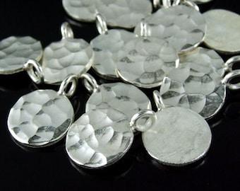 3KH-072 thai karen hill tribe handmade silver 4 hammered round disc charm