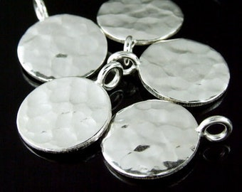 3KH-098 thai karen hill tribe handmade silver 3 hammered round disc charm (both side hammered)