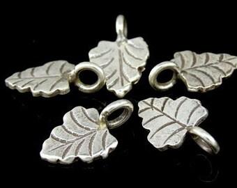 5KH-015 thai karen hill tribe handmade silver 8 small leaf charm