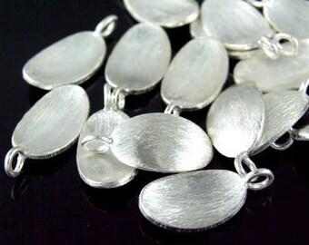 7KH-034 thai karen hill tribe handmade silver 6 brush curved oval disc charm