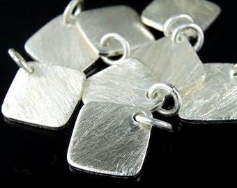 7KH-035 thai karen hill tribe handmade silver 3 brush square disc charm
