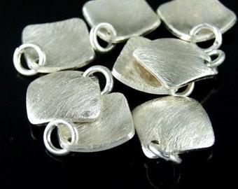 7KH-036 thai karen hill tribe handmade silver 3 brush curved square disc charm