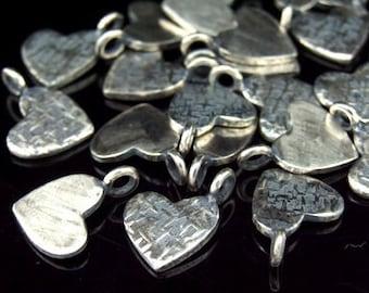 8KH-057 thai karen hill tribe handmade silver 4 black & white  textured diedut heart charm