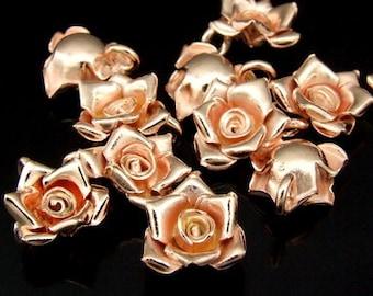 KZ-055 thai karen hill tribe handmade silver 4 rose gold vermeil small wild rose charm