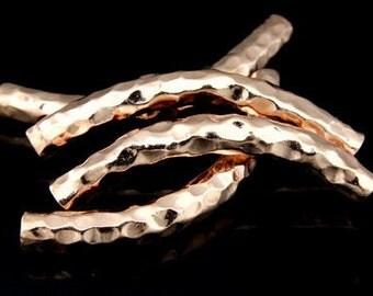 KZ-079 thai karen hill tribe handmade silver 2 rose gold vermeil hammered curved tube bead