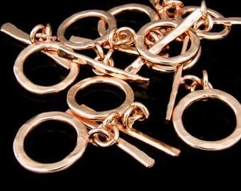 KZ-092 thai karen hill tribe handmade silver 2 rose gold vermeil hammered round hoop toggle