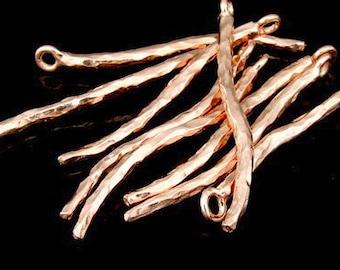 KZ-115 thai karen hill tribe handmade silver 3 rose gold vermeil bend bar charm