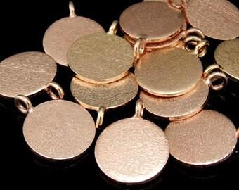 KZ-123 thai karen hill tribe handmade silver 4 rose gold vermeil brush disc charm