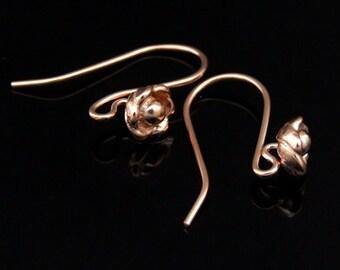 KZ-192 thai karen hill tribe handmade 24k rose gold vermeil ower silver pair wild flower earring hook