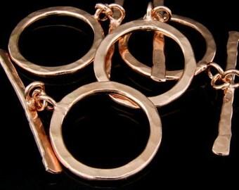 KZ-091 thai karen hill tribe handmade silver 1 rose gold vermeil hammered round toggle