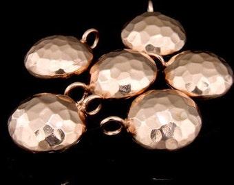 KZ-173 thai karen hill tribe handmade silver 2 rose gold vermeil hammered round pufed charm