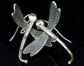 6KH-021 thai karen hill tribe hanamade silver black & white large pair dragonfly earring
