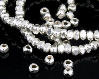 KJ-023 thai karen hill tribe silver 45 mini facet bead