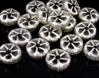 KK-030 thai karen hill tribe silver 4 daisy fancy print spacer bead