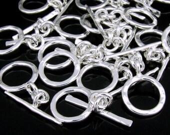 KR-038 Thai karen hill tribe handmade silver 4 hammered round toggle