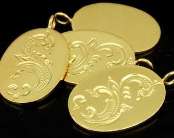 KG-311 thai karen hill tribes silver 2 gold vermeil thai style engrved oval disc  charm