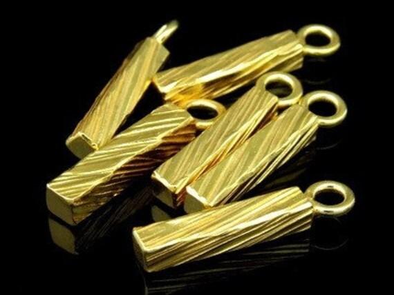 KG-196 thai karen hill tribe silver 2 gold vermeil scratch bar charm